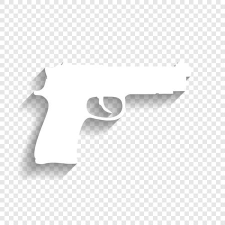 Gun teken illustratie. Vector. Wit pictogram met zachte schaduw op transparante achtergrond. Stock Illustratie