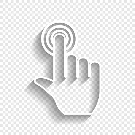 Fare clic sulla mano sul pulsante. Vettore. Icona bianca con morbida ombra su sfondo trasparente. Vettoriali