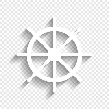 Ship wheel sign. Vector. White icon with soft shadow on transparent background.