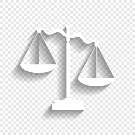 Scales of Justice sign. Vector. White icon with soft shadow on transparent background. Vettoriali