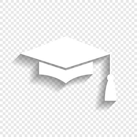 Mortar Board or Graduation Cap, Education symbol. Vector. White icon with soft shadow on transparent background.