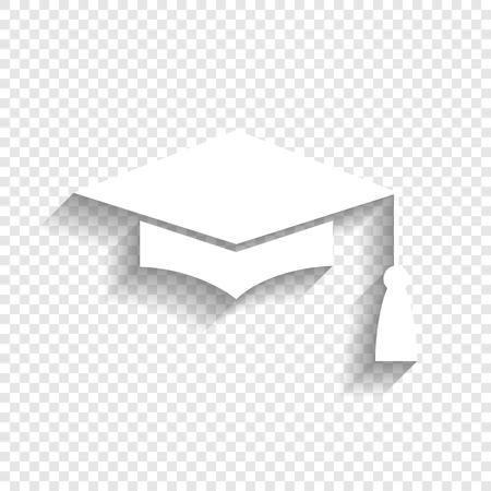 Tablero de mortero o gorro de graduación, símbolo de Educación. Vector. Icono blanco con suave sombra sobre fondo transparente.
