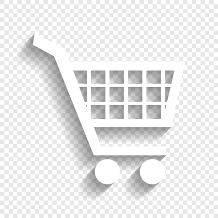Shopping cart sign. Vector. White icon with soft shadow on transparent background.