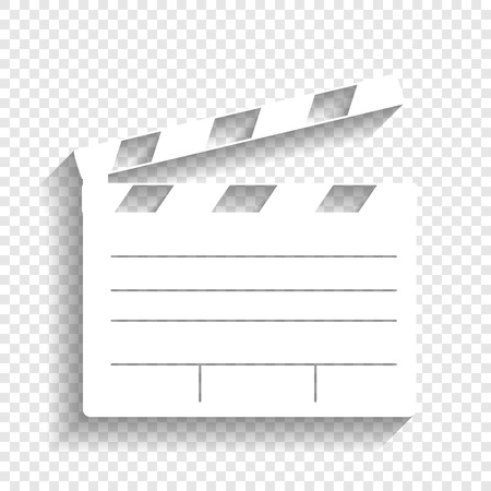 Film clap board cinema sign. Vector. White icon with soft shadow on transparent background.