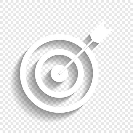 Target With Dart Vector White Icon Soft Shadow On Transparent Background Stock