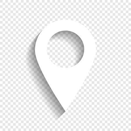 Mark pointer sign. Vector. White icon with soft shadow on transparent background. Vettoriali