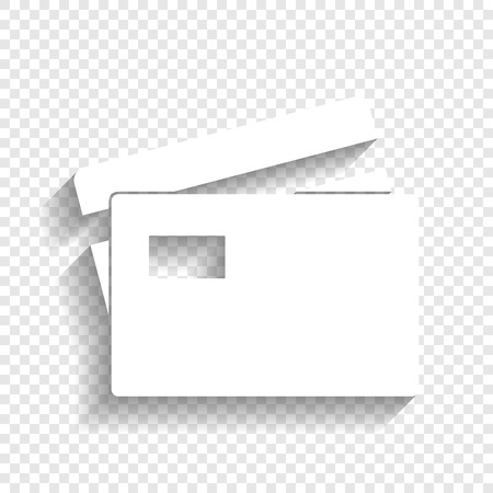 bank cart: Credit Card sign. Vector. White icon with soft shadow on transparent background.