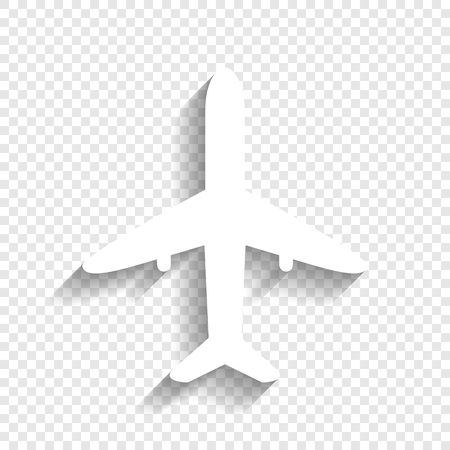 Airplane sign illustration. Vector. White icon with soft shadow on transparent background.