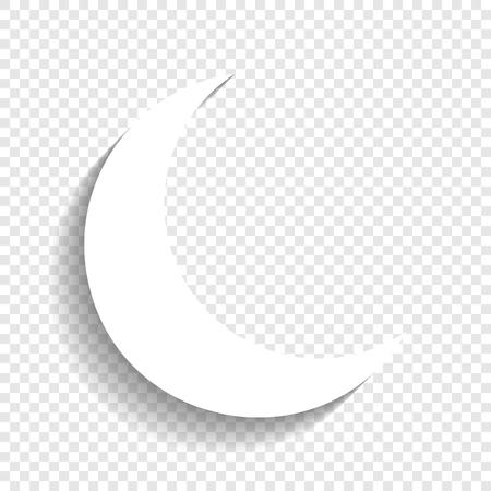 Illustrazione del segno di luna. Vettore. Icona bianca con morbida ombra su sfondo trasparente. Archivio Fotografico - 80930108