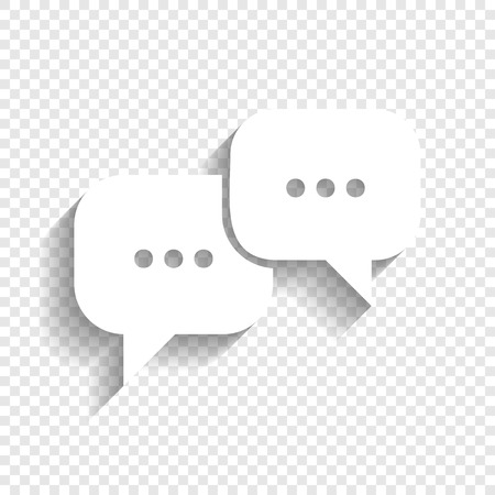 Speech bubbles sign. Vector. White icon with soft shadow on transparent background.