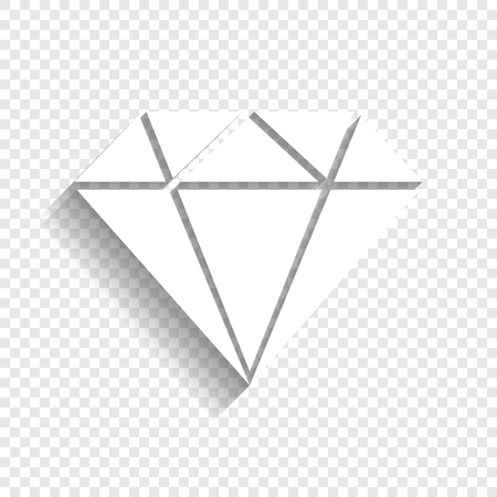Diamond sign illustration. Vector. White icon with soft shadow on transparent background. Illustration