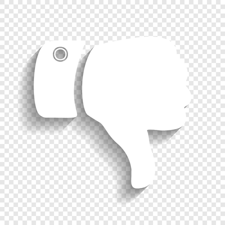 Hand sign illustration. Vector. White icon with soft shadow on transparent background. Illustration