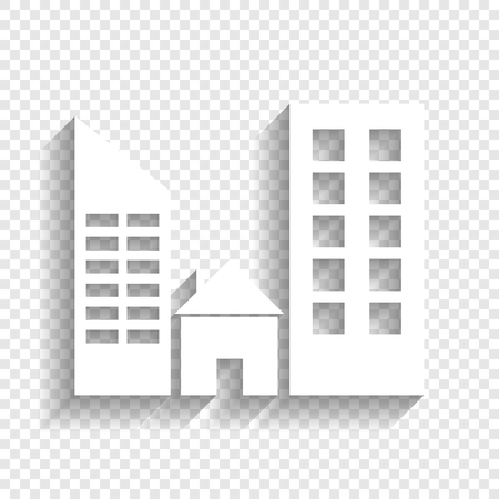 Real estate sign. Vector. White icon with soft shadow on transparent background. Illustration