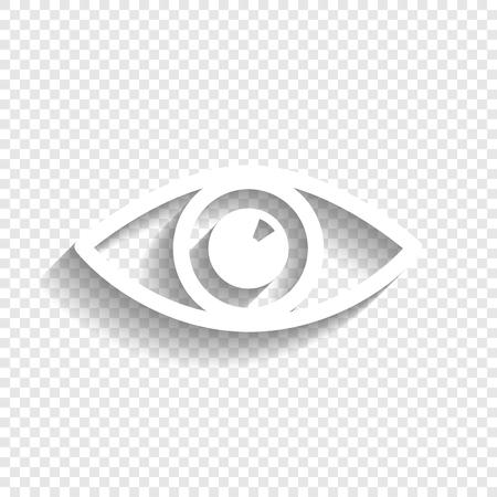 눈 기호 그림입니다. 벡터. 투명 한 배경에 부드러운 그림자와 흰색 아이콘입니다.