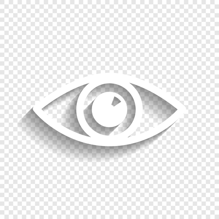 Eye sign illustration. Vector. White icon with soft shadow on transparent background. Illustration
