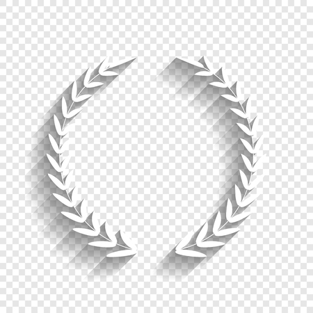 Segno della corona di alloro. Vettore. Icona bianca con ombra morbida su sfondo trasparente. Vettoriali