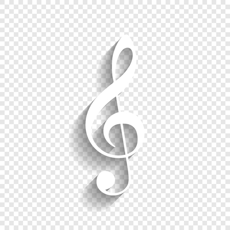 Music violin clef sign. G-clef. Treble clef. Vector. White icon with soft shadow on transparent background.
