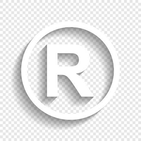 Registered Trademark sign. Vector. White icon with soft shadow on transparent background.