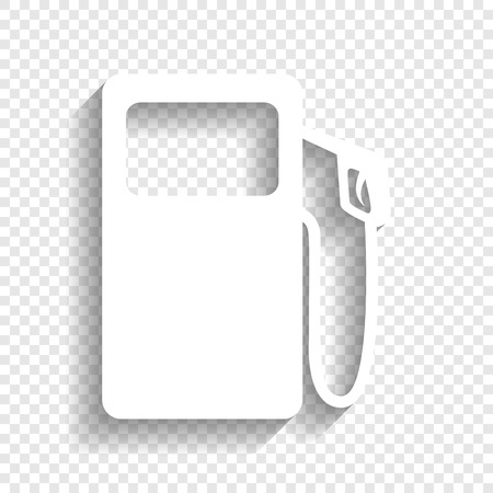 Gas pump sign. Vector. White icon with soft shadow on transparent background.