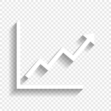 성장 막대 그래픽 기호입니다. 벡터. 투명 한 배경에 부드러운 그림자와 흰색 아이콘입니다. 일러스트