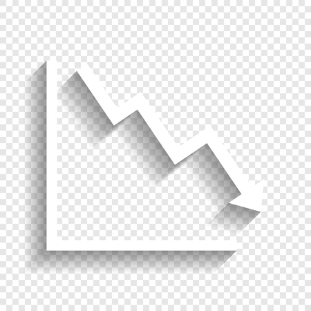 Arrow pointing downwards showing crisis. Vector. White icon with soft shadow on transparent background. Illustration