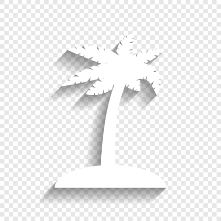 Coconut palm tree sign. Vector. White icon with soft shadow on transparent background.