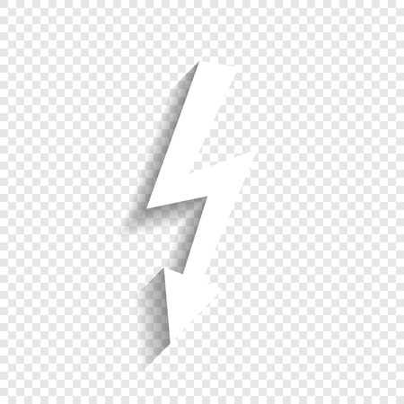 menace: High voltage danger sign. Vector. White icon with soft shadow on transparent background.