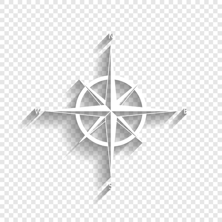 Signe de rose des vents. Vecteur. Icône blanche avec une ombre douce sur un fond transparent.