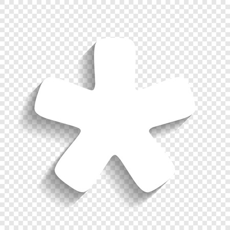 Asterisk star sign. Vector. White icon with soft shadow on transparent background. Ilustração