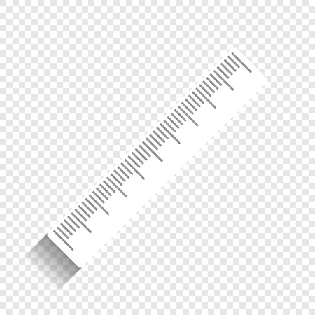 dimension: Centimeter ruler sign. Vector. White icon with soft shadow on transparent background.