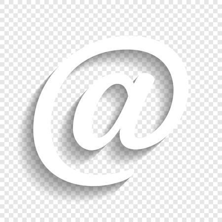 Mail teken illustratie. Vector. Wit pictogram met zachte schaduw op transparante achtergrond.