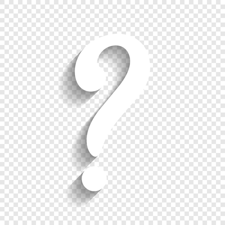 Question mark sign. Vector. White icon with soft shadow on transparent background.