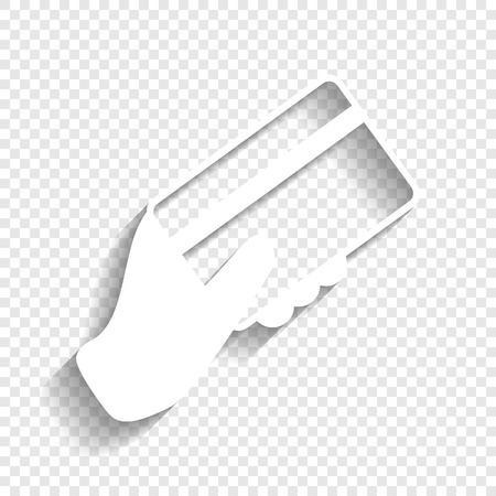 Hand holding a credit card. Vector. White icon with soft shadow on transparent background. Ilustração