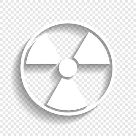 Radiation Round sign. Vector. White icon with soft shadow on transparent background. Çizim