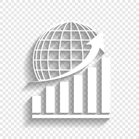 Growing graph with earth. Vector. White icon with soft shadow on transparent background.