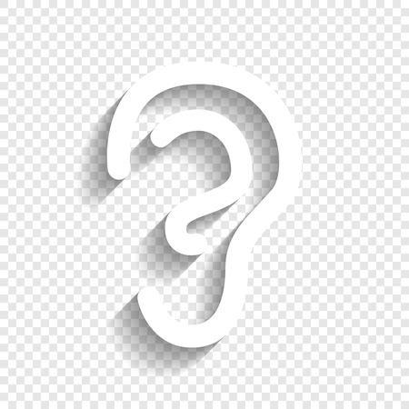 Human anatomy. Ear sign. Vector. White icon with soft shadow on transparent background.  イラスト・ベクター素材