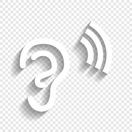 Human anatomy. Ear sign with soundwave. Vector. White icon with soft shadow on transparent background.