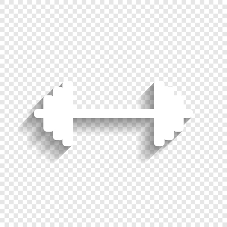 Dumbbell weights sign. Vector. White icon with soft shadow on transparent background.