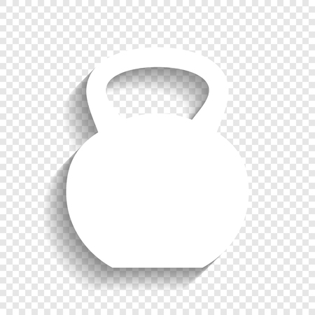 Fitness Dumbbell sign. Vector. White icon with soft shadow on transparent background.