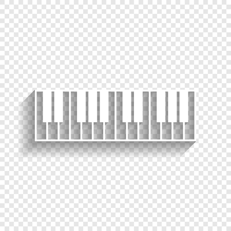 Piano Keyboard sign. Vector. White icon with soft shadow on transparent background.