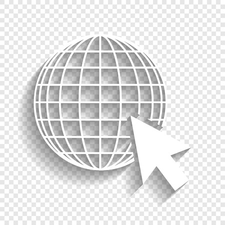 Earth Globe with cursor. Vector. White icon with soft shadow on transparent background.