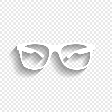 Sunglasses sign illustration. Vector. White icon with soft shadow on transparent background.