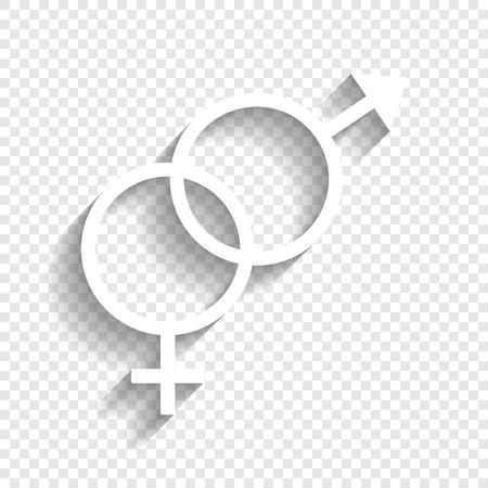 セックス シンボル サイン。ベクトル。透明な背景にソフト シャドウのついた白いアイコン。