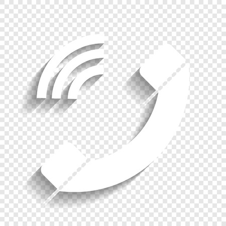 Phone sign illustration. Vector. White icon with soft shadow on transparent background.