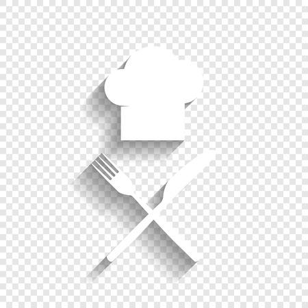 Chef mit Messer und Gabel Zeichen. Vektor. Weiße Ikone mit weichen Schatten auf transparentem Hintergrund.
