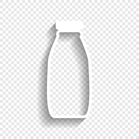 Milk bottle sign. Vector. White icon with soft shadow on transparent background.