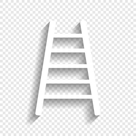 사다리 기호 그림입니다. 벡터. 투명 한 배경에 부드러운 그림자와 흰색 아이콘입니다.