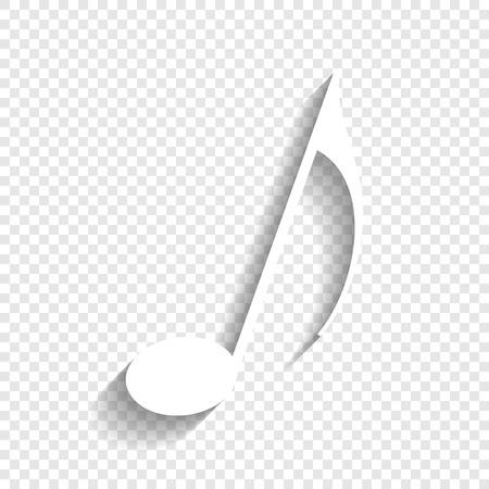 음악 메모 기호입니다. 벡터. 투명 한 배경에 부드러운 그림자와 흰색 아이콘입니다.