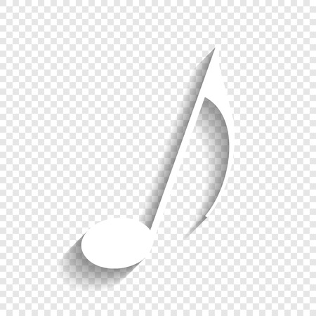 Music note sign. Vector. White icon with soft shadow on transparent background. Illustration