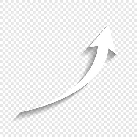 矢印記号を成長しています。ベクトル。透明な背景にソフト シャドウのついた白いアイコン。